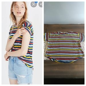 Madewell pinstriped whisper cotton tee shirt